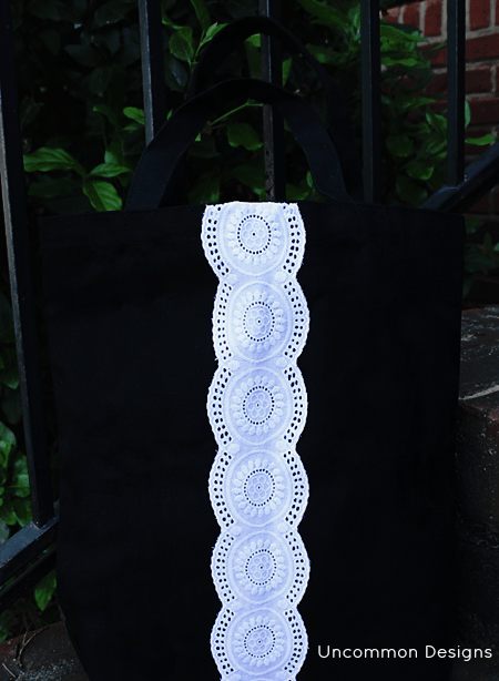 Make a lace embellished tote bag for a gorgeous gift idea for Uncommon Designs