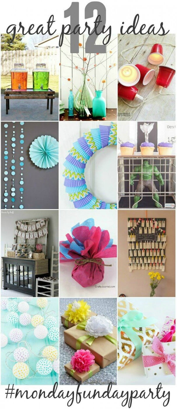 12 Great Party ideas to set a festive mood at your next party or event! From Monday Funday via Uncommon Designs.