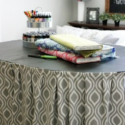 Make a raised and skirted craft table with Uncommon Designs. Hide all of your junk and craft supplies with style!