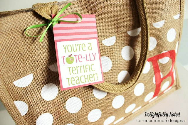 Teacher Appreciation Gift Printables and Burlap Tote Bag via Uncommon Designs