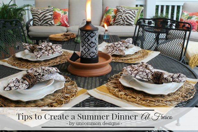 Tips to Create a Summer Dinner Al Fresco via Uncommon Designs.