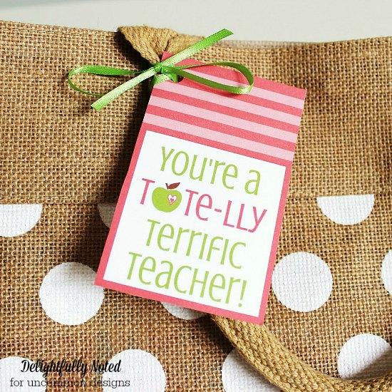 Teacher Appreciation Gift Printables and Burlap Tote Bag via Uncommon Designs