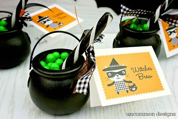 Serve up these adorable Witches Brew Halloween Treats to your family and friends.  These cute cauldrons full of bubbling sweetness are great for party favors, classroom parties, and boo gifts!  | Uncommon Designs