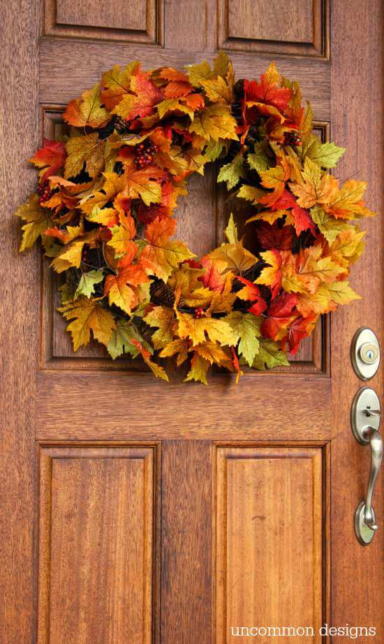 10 Minute Fall Leaf Wreath Uncommon Designs