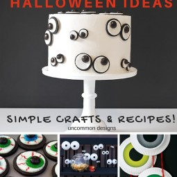 These eyeball crafts and recipes are perfect for your last minute Halloween planning! Uncommon Designs