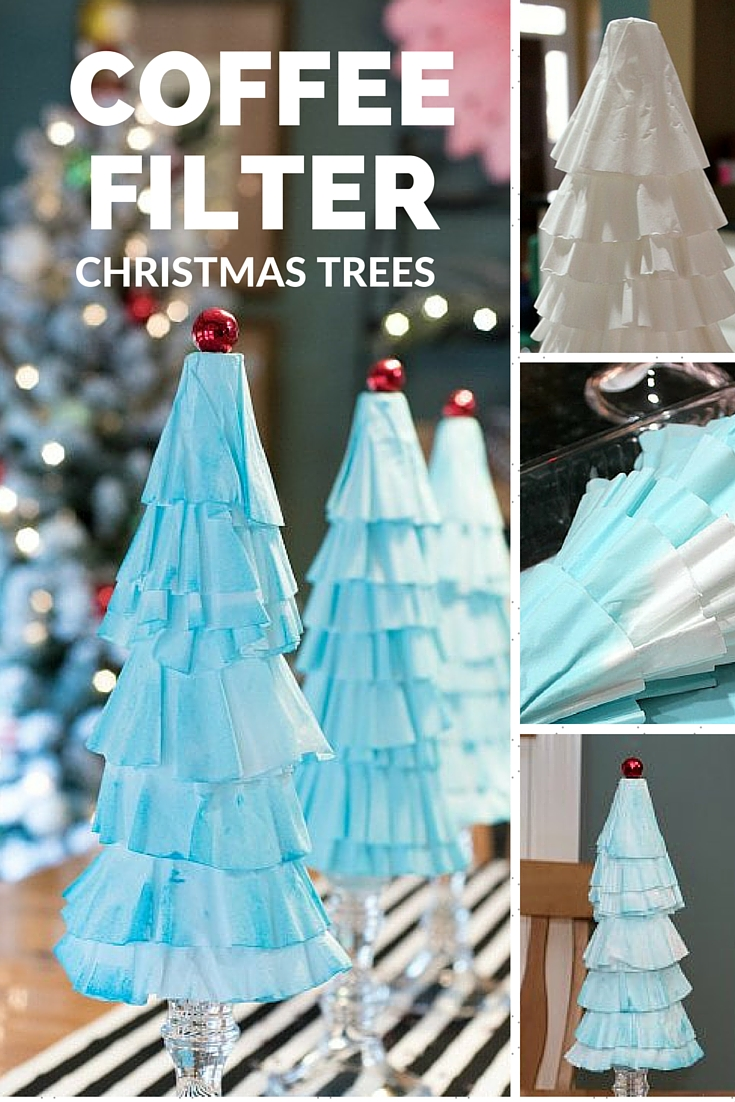 Coffee Filter Christmas Trees are the easiest Christmas decoration you will make this year! Grab some coffee filters and a little paint... the perfect kids holiday craft!   Uncommon Designs