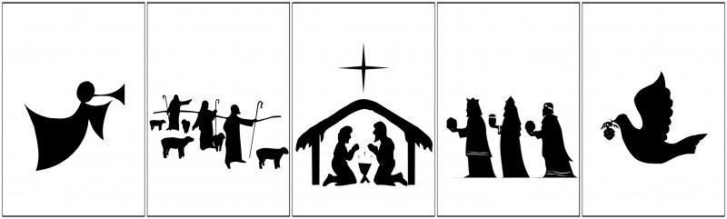Crazy image in free printable silhouette of nativity scene