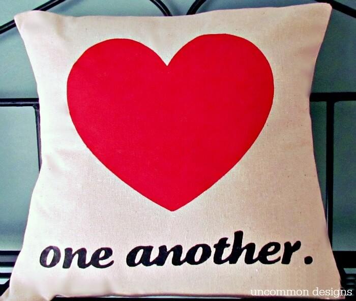 DIY Stenciled Valentine Heart Pillow via Uncommon Designs