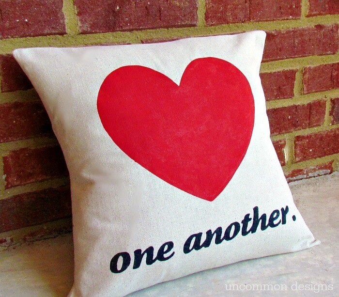 DIY Stenciled Valentine Heart Pillow via Uncommon Designs