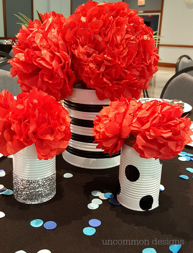 Cheer Banquet Ideas: Centerpiece Ideas, Tissue Flowers, and Cheer Bow Napkins!