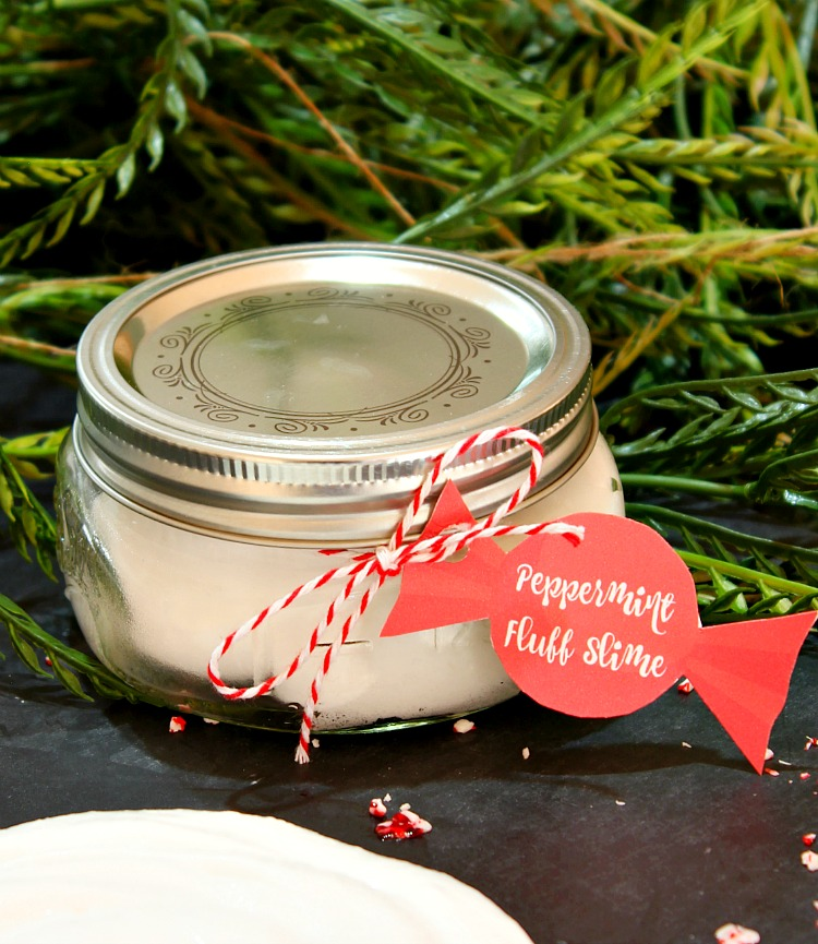 Peppermint Fluff Slime is so simple to make. This one is so fluffy and soft and it makes a great Christmas gift with the free printable tags! See more at http://uncommondesignsonline.com/ #Christmas #Crafts #KidsCrafts