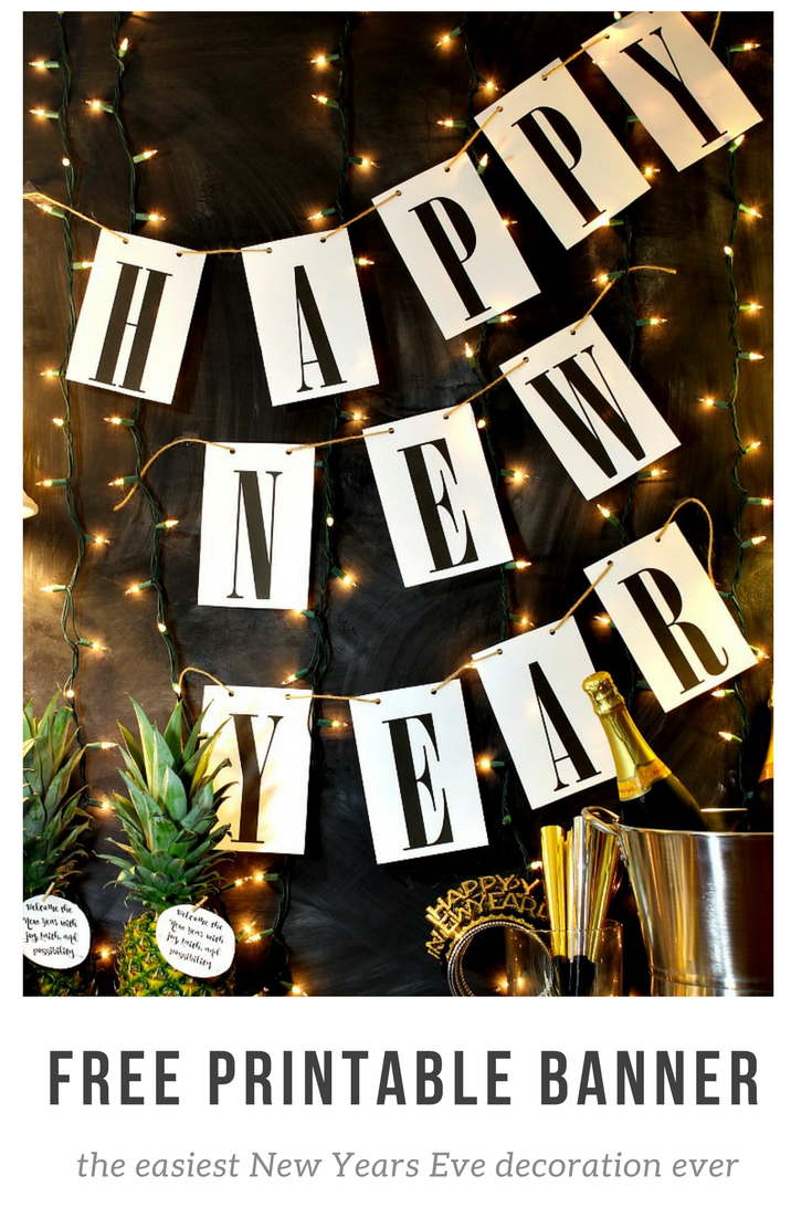 Ring in the new year with this simple Happy New Year free printable banner. It will match any decor and it is so easy to print and hang! See it at http://www.uncommondesignsonline.com #NewYearsEve #Free Printables