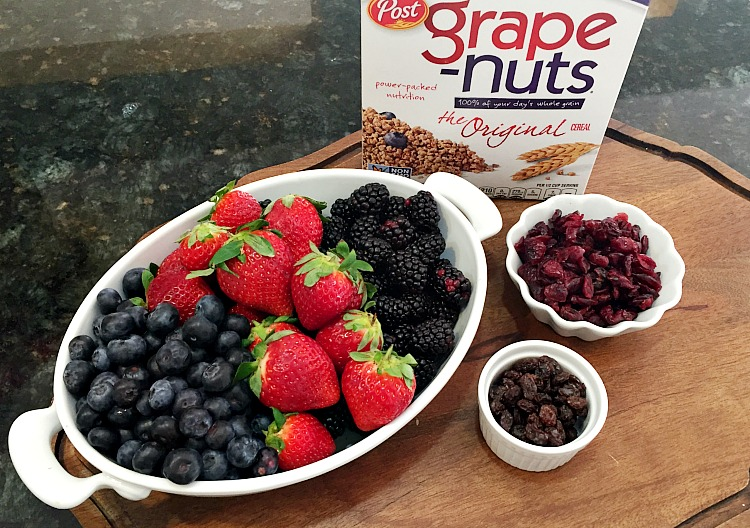 These yogurt parfaits topped with grape nuts cereal are a fun way to get your kids to eat a wholesome breakfast and they who doesn't love eating out of fancy glasses?