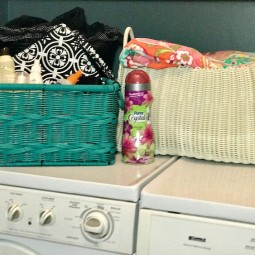 Summer Essentials Organization:Get your laundry room ready for the summer! Have all of your beach towels in one place and a handy caddy for goggles, sunscreen and anything else you might need to grab and go!