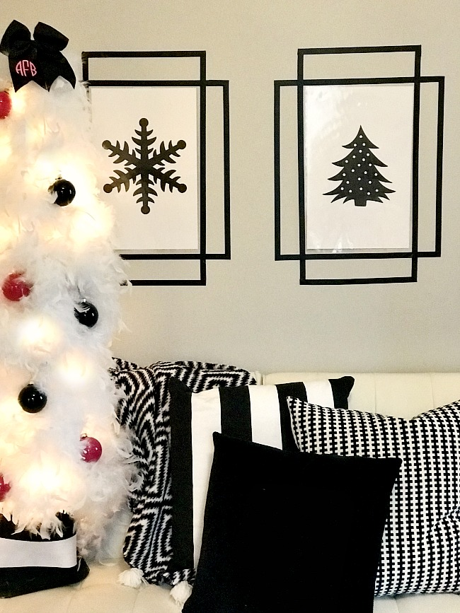 Create your own holiday wall art with washi tape wall frames!
