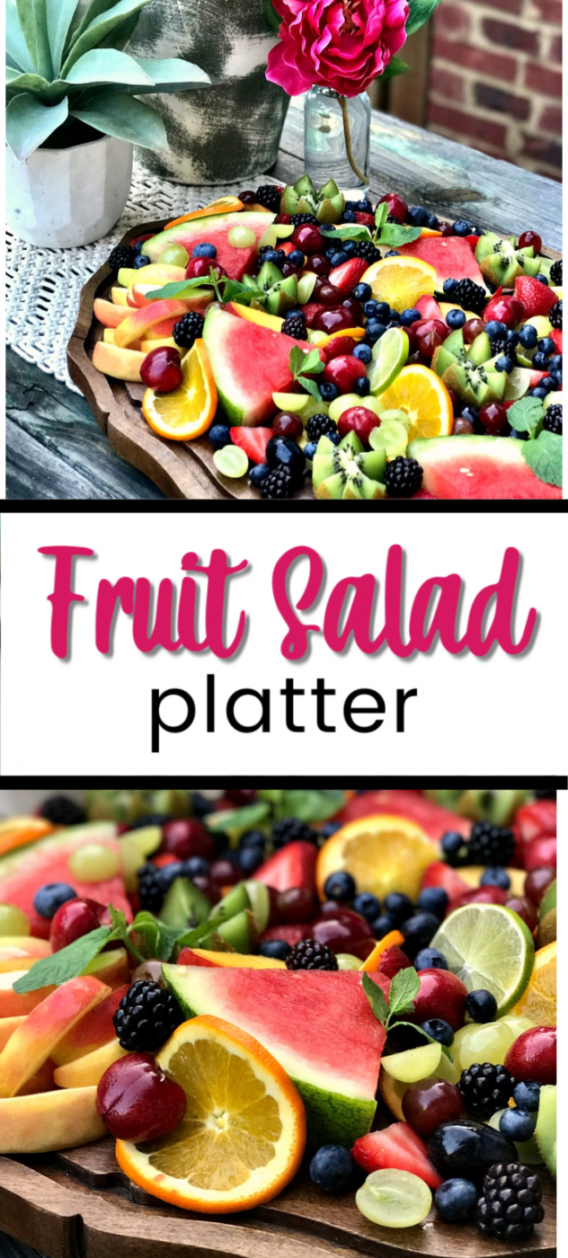 Create a fruit salad platter for your next outdoor party. This summer party tray favorite is loaded with fresh fruits that are filled with flavor. Say hello to a gorgeous fruit platter idea for summer entertaining!