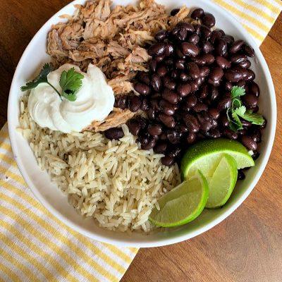 Cilantro Lime Carnitas Rice Bowls