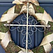 Willow House Inspired Moss and Ribbon Cross Wreath