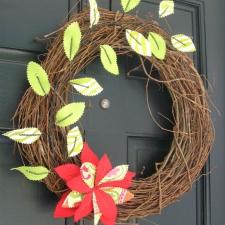 DIY Summer Fabric Flower and Leaf Wreath Tutorial