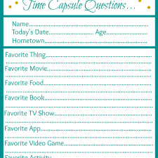 New Year's Eve Time Capsule Printable