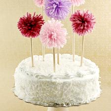 DIY Pom Pom Cake Toppers