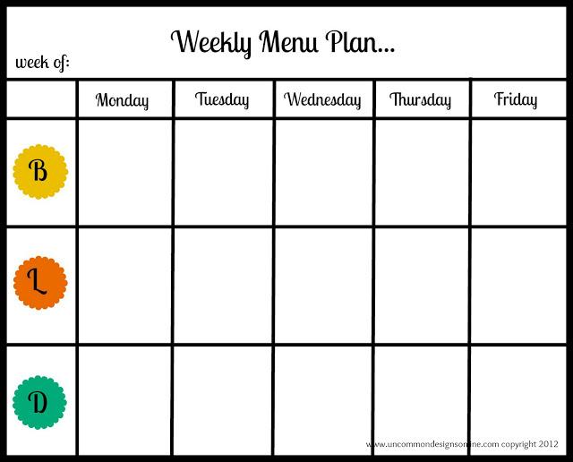 Weekly Menu Plan Uncommon