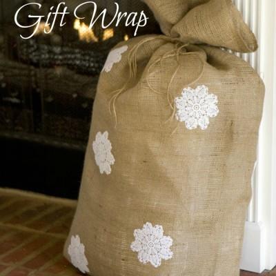 Burlap Bag Gift Wrap Idea