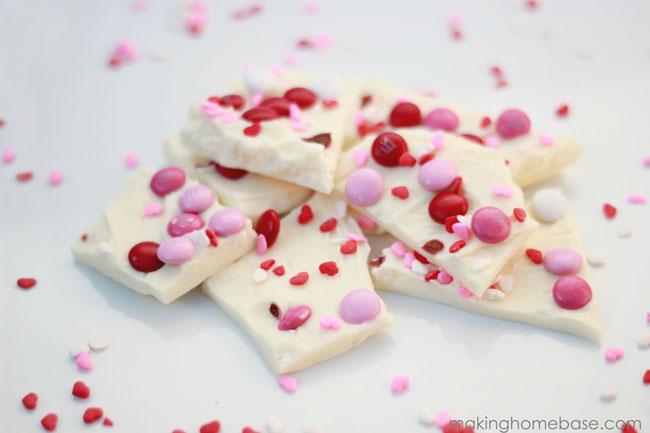 Valentine candy bark