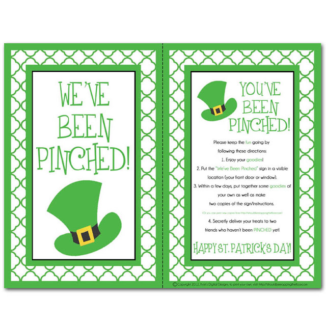 St.Patty's day Pinched printable