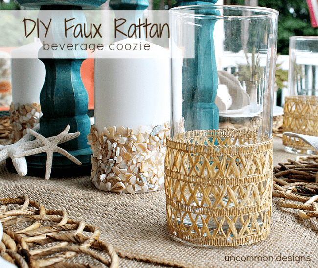 How to make these adorable DIY Faux Rattan Beverage Coozies! #outdoorliving #rattan