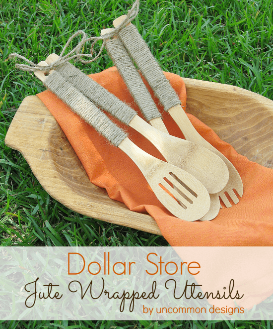 OH you gotta love a Dollar Store project! These serving utensils wrapped in jute are great! #dollarstore