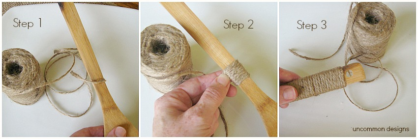 Fast and Easy Jute Wrapped Utensils.  Whip up a set in no time!  www.uncommondesignsonline.com