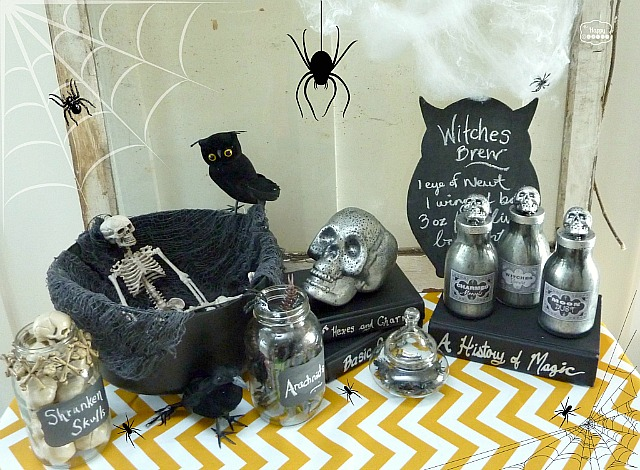 Halloween-Vignette-with-DIY-Faux-Mercury-Glass-Potion-Bottles