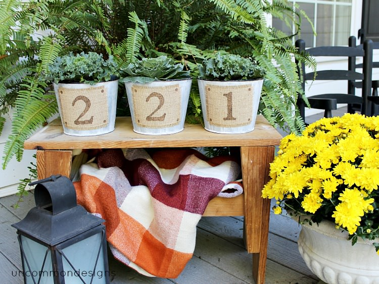stenciled burlap house number buckets via Uncommon Designs