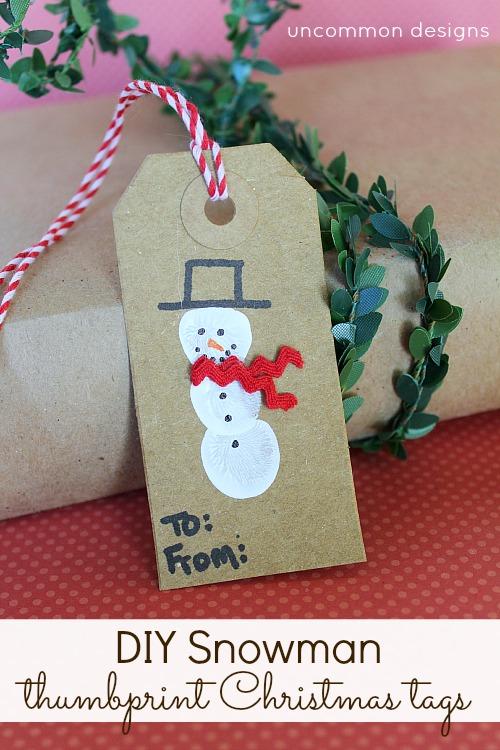 DIY Snowman Thumbprint Christmas Tags. via www.uncommondesignsonline.com