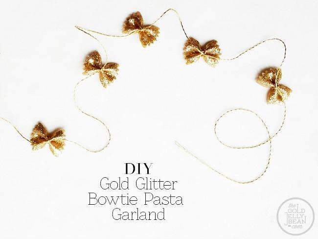 New-years-DIY-Gold-Glitter-Bowtie-Pasta-Garland