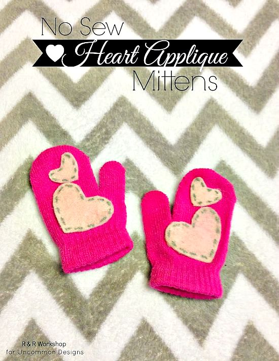 No sew heart appliqued mittens. #kidscrafts #applique #feltcraft #mittens
