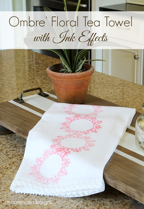 Ombre Floral Tea Towel with Ink Effects