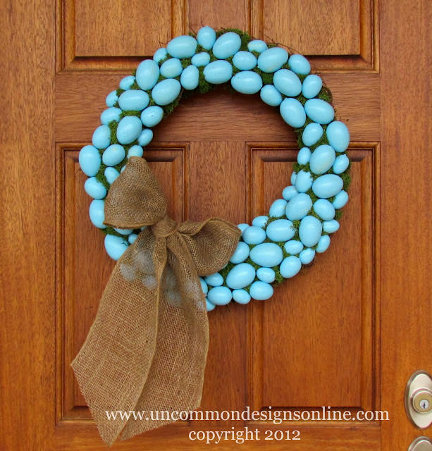 Robin's Egg Blue Easter Egg Wreath via www.uncommondesignsonline.com #Easter #Wreath