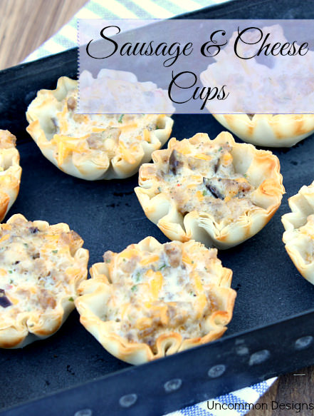 Sausage and Cheese Cups Recipe: A super easy appetizer... great for a crowd!  www.uncommondesignsonline.com #Sausage #Appetizer