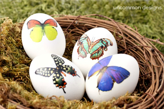 Decorate Easter Eggs with Temporary Tattoos... So pretty and elegant! via www.uncommondesignsonline.com #Easter