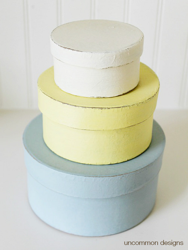 chalky-finish-painted-waxed-paper-mache-boxes