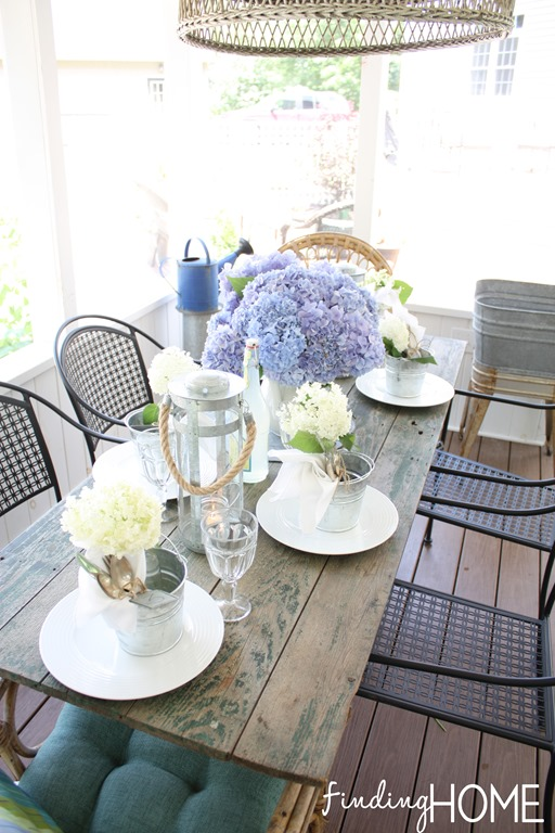 Use fresh flowers from your garden to create a simple porch summer table!