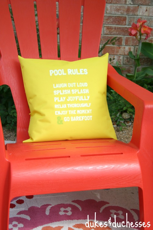 Make a fun Pool Rules Pillow for Summer!  Dukes and Duchesses via www.uncommondesignsonline.com