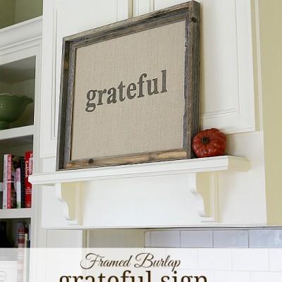 Framed Burlap GRATEFUL Sign … create a lasting family reminder