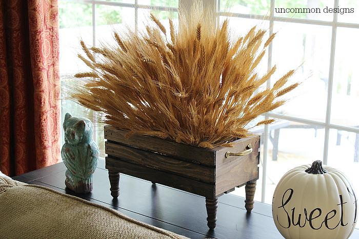 Wood crate wheat box centerpiece. #findingfallhometour