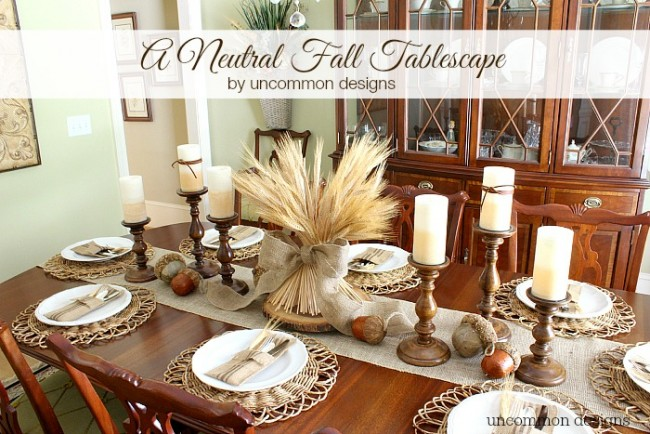 A beautiful fall or Thanksgiving tablescape using neutral colors via uncommon designs