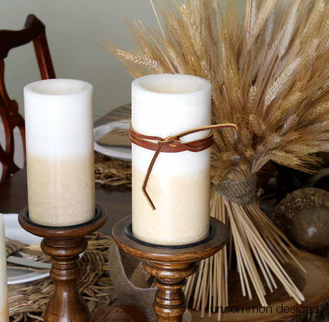 DIY Leather Wrapped Candles via Uncommon Designs