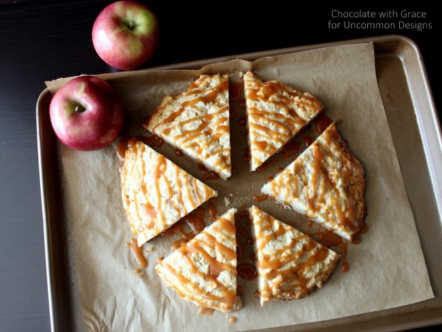 Whip up these warm and delicious Caramel Apple Scones via Uncommon Designs