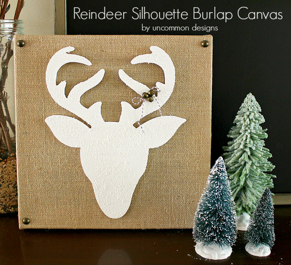 Create a snow covered Reindeer Silhouette Burlap Canvas with Snow-tex for your Christmas Decor in your home via Uncommon Designs.